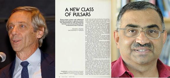 Fig. 3 - A sinistra Don Backer a destra Shri Kulkarni, al centro la prima pagina dell'articolo in cui viene riportata la nuova classe di pulsar da loro scoperta.