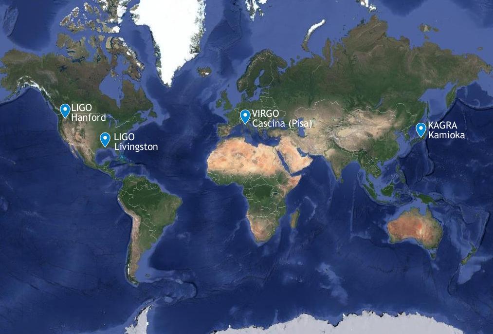 Fig. 1. Le 4 antenne gravitazionali in funzione attualmente: 2 negli Stati Uniti, una in Italia, vicino a Pisa, e una in Giappone.