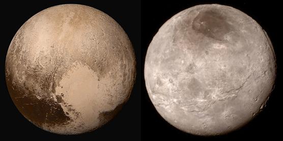 """Figura 4: Plutone (NASA - JHU - SRI) e sua luna, Caronte (NASA-JPL), riprese dalla sonda New Horizons. Il sistema è totalmente in blocco mareale, così Caronte e Plutone orbitano l'uno intorno all'altro """"guardandosi in faccia"""" all'infinito."""